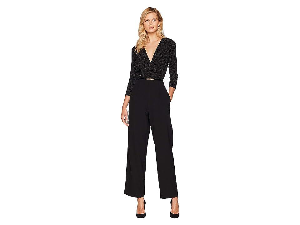 eci V-Neck Belted Long Sleeve Jumpsuit (Black/Silver) Women