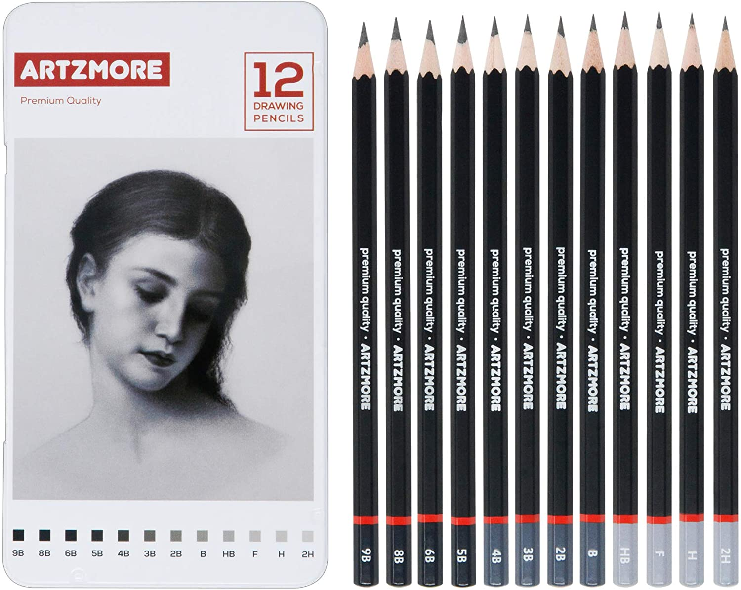 Artzmore Drawing Limited price Pencils Set - Graph Piece 12 Sketching Ultra-Cheap Deals