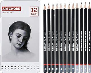 Artzmore Drawing Pencils Set, 12 Pieces Professional Sketch Pencils, Art Pencil Set with Light to Dark Graphite Pencils, S...