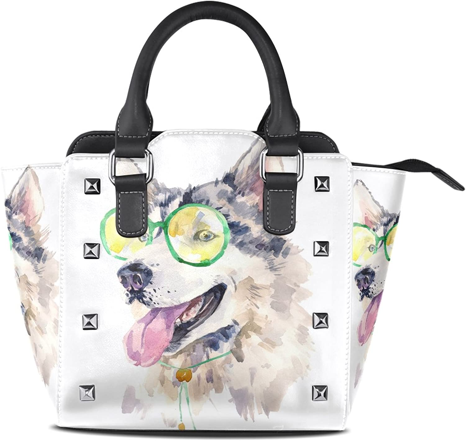 My Little Nest Women's Top Handle Satchel Handbag Watercolor Husky Dog Ladies PU Leather Shoulder Bag Crossbody Bag