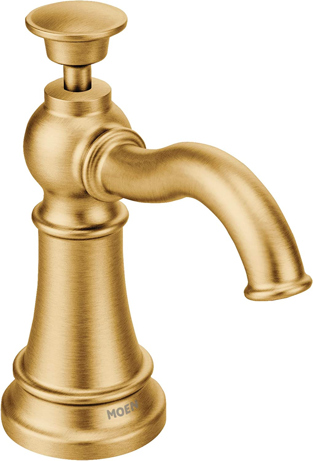 Moen S3945BG Traditional Deck Mounted Kitchen Soap Dispenser with Above the Sink Refillable Bottle, Brushed gold