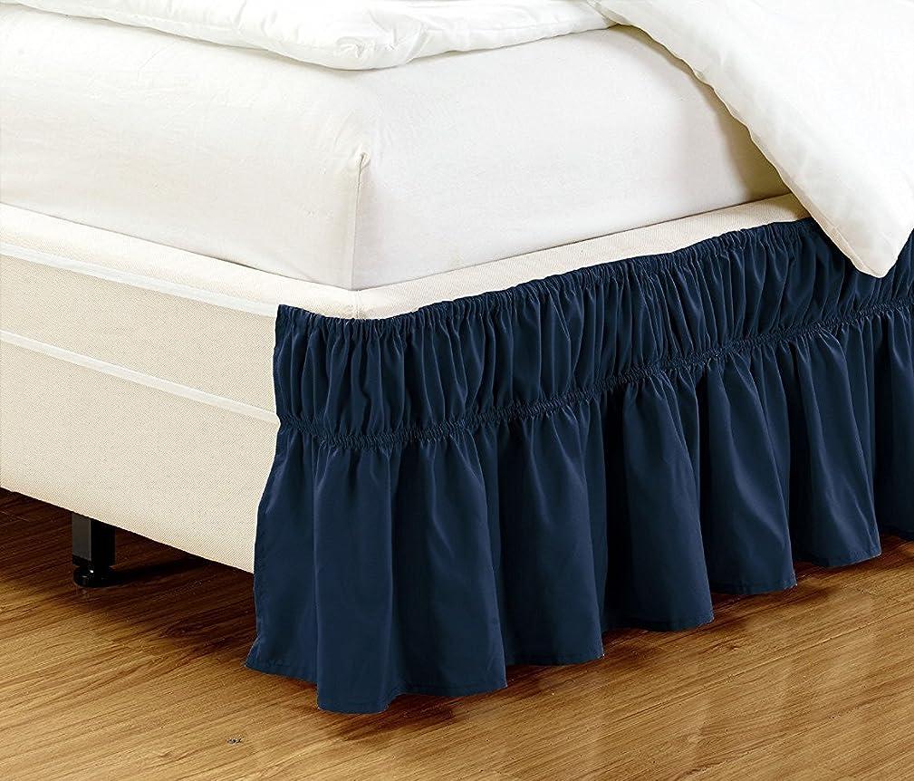 症状ポール円形のリネン プラス クイーン キングサイズ 伸縮ベッドスカート ドロップ17インチ簡単オン/簡単オフダストフリル付きソリッドネイビーブルー