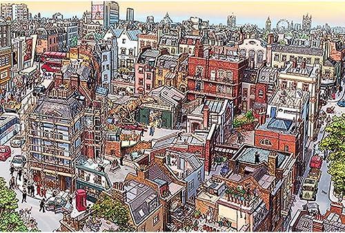 Puzzle House- CartoonPT Cartoon-Stadtplan, Holzpuzzle, dekorative Malerei, Fine Cut & Fit Classic 1000er Boxed Toys Spiel für Erwachsene & Kinder -404 (Farbe   D)