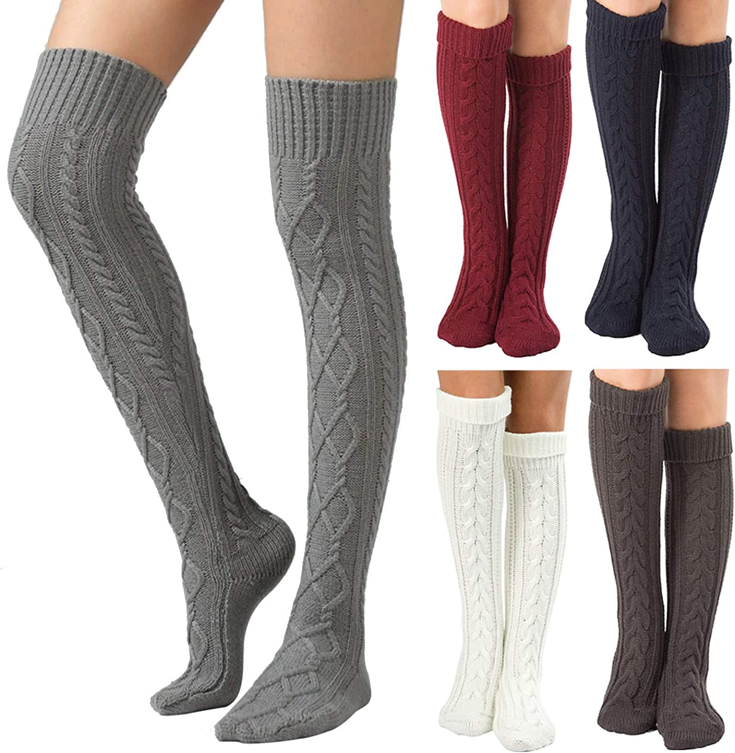 GTYX Women Thigh High Over The Knee Socks 1 Pair Hosiery Leg Warmers Solid Color Leggings Extra Long Boot Sock Stockings