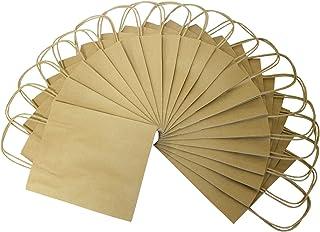 Folia 21810 Lot de 20 Sacs en Papier Kraft Naturel pour travaux manuels, décoration et Cadeaux 18 x 8 x 21 cm