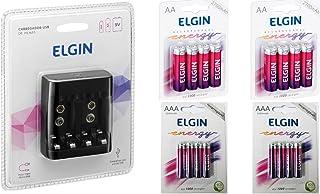 Carreg. Pilhas E Baterias Usb Elgin Scusb + 8pilhas Aa 2700 + 8 Pilhas Aaa 1000