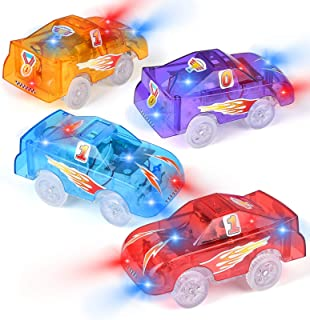 Tracks Cars Replacement Only, Funkprofi Light Up Toy Cars for Tracks, 5 LED Flashing Lights, Compatible with Most Tracks, ...