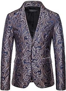 Fashion Suit Dress Beautyfine Men's Autumn Winter Casual Gold Print Button Jacket Long Sleeve Coat Top