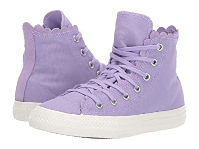 Converse Kids Chuck Taylor(r) All Star(r) Frilly Thrills Canvas Hi (Little Kid) (Washed Lilac/Washed Lilac/Egret) Girls Shoes