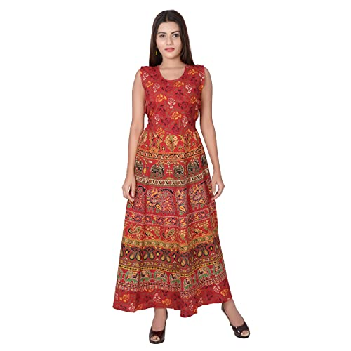 Jaipuri Fashionista Cotton Women's Maxi Long Dress Jaipuri Printed (Free Size Upto 44-XXL)