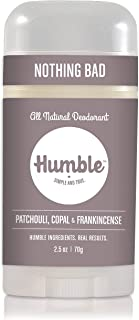 Humble All Natural Deodorant, Aluminum and Paraben Free, Cruelty Free Men's and Women's Deodorant, Patchouli Copal and Frankincense, 1-Pack