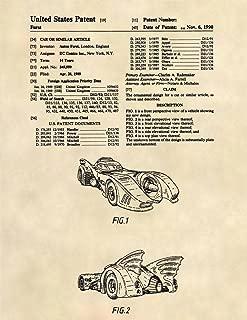 Patent Prints - 1989 Batmobile - Batman Patent Art Poster (8.5 x 11) - 281