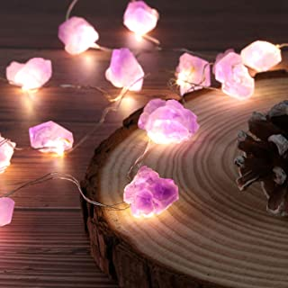 JASHIKA Nature Genuine Amethyst Healing Crystal String Lights 10ft Battery Operated with Remote for Hanging Reiki Party Or...