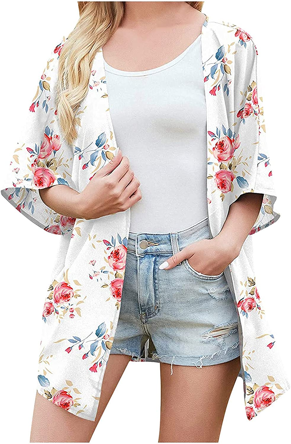 Kanzd Cardigans for Women Fashion Long Sleeve Floral Print Chiffon Kimono Cardigan Open Front Cover Up Casual Blouse Tops