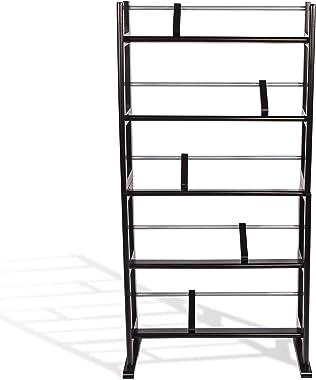 Atlantic Element Media Rack de rangement – Support jusqu'à 230 cds ou 150 vds, design en bois durable et métal avec pieds