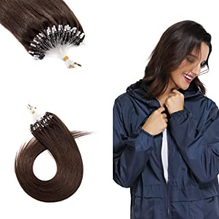 Hairro 20 Inch Micro Loop Ring Human Hair Extension (#4 Medium Brown) Micro Beads Link Extensions Cold Fusion Micro Link S...