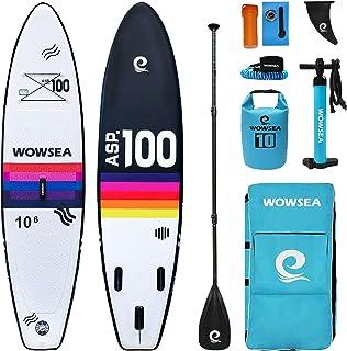WOWSEA Exploringインフレータブルパドルボード| 325cm長x 80cm幅x 15cm厚 | 耐久性のある安定ハンティングインフレータブルサーフボード| 釣りパドルボード| レインボー