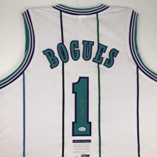 Autographed/Signed Muggsy Bogues Charlotte White Basketball Jersey PSA/DNA COA