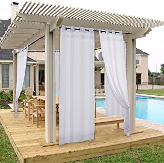 NICETOWN Privacy Outdoor Curtain Panel for Porch Window Treatment Silver Grommet Water Repellent Indoor Outdoor Sheer Drape with Rope Tieback (1 Panel, 54 by 84 Inch, White)