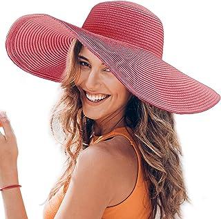 Dafunna Women Floppy Straw Hat Wide Brim Beach Sun Hat with Adjustable  Drawstring 3539e4c55075