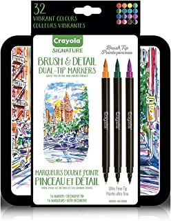 Crayola Brush Markers, Dual-Tip with Ultra Fine Marker, 32 Colors, 16Count