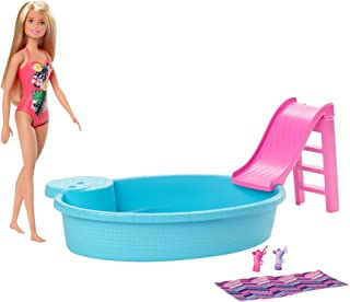 ​Barbie Doll, 11.5-Inch Blonde, and Pool Playset with...