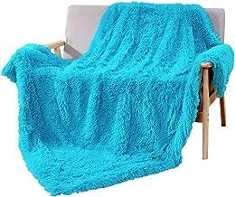 DECOSY Super Soft Faux Fur Couch Throw Blanket Aqua Blue 60
