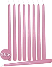 Ner Mitzvah 100 Pack Tall Taper Candles - 12 Inch Antique Rose Dripless, Unscented Dinner Candle - Paraffin Wax with Cotto...