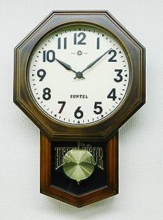 さんてる 掛け時計 ブラウン 400×260×70mm スタンダード 電波振り子時計(8角) アラビア数字 SR07-A