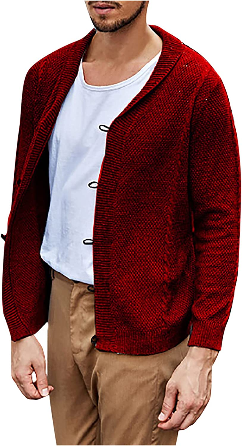 Casual Cardigan Sweater for Men Relaxed Fit V Neck Knitted Buttons Shawl Cardigans