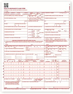 New CMS 1500 Health Insurance Claim Forms, HCFA Approved Version (02/12) - 500 Forms