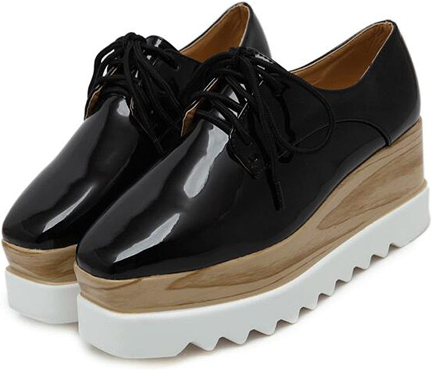 Mandaartins Woman Patent Leather Oxford Platform shoes Lace-up Creepers Flats