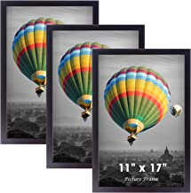 Picture Frames 11x17 Set of 3 - Wood Poster Frame 11 x 17 Inch for Photo Certificate Poster Print Art, 11x17 Frame Wooden ...