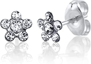 Sensitive Stud Earrings Stainless Steel Daisy April Crystal in a Tiffany Setting