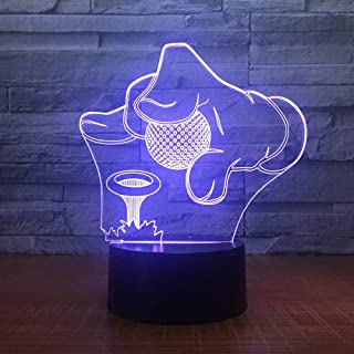 XXNYD Golf Tournament 3D 7 Color Lamp Visual Led Night Lights for Kids Touch USB Table Baby Sleeping