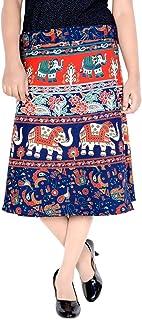 Women's Cotton Printed Knee Length Regular Wrap Around Skirt (W24NT_0001)