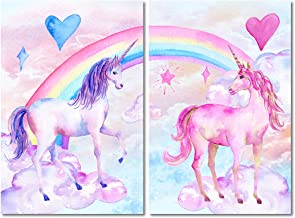 Purple Verbena Art Watercolor Cartoon Rainbow Unicorn Picture Canvas Prints Wall Decor Artwork, Modern Giclee Painting for Kid's Room Living Room Decoration, Stretched and Framed 16x24 Inch 2pcs