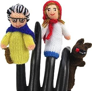 Global Handmade Hope Little Red Riding Hood Finger Puppet Set of 3 - Hand Knit Fair Trade from Peru