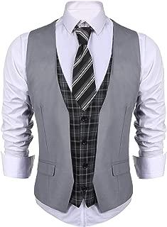 Men's Business Suit Vest layered Plaid Dress Waistcoat for Wedding, Date, Dinner