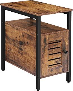 HOOBRO End Table with Cabinet, Narrow Nightstand for Small Space, Industrial Side Table with Louvered Door for Living Roo...