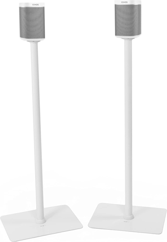 VIVO White 39  Speaker Floor Stands (Pair) Designed for SONOS Play 1 and Play 3 Audio Speaker Freestanding Bracket Mounts (STAND-SP03W)