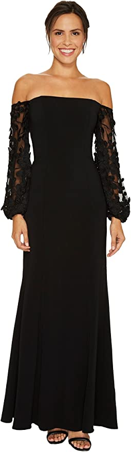 Off the Shoulder Gown with Applique Sleeve