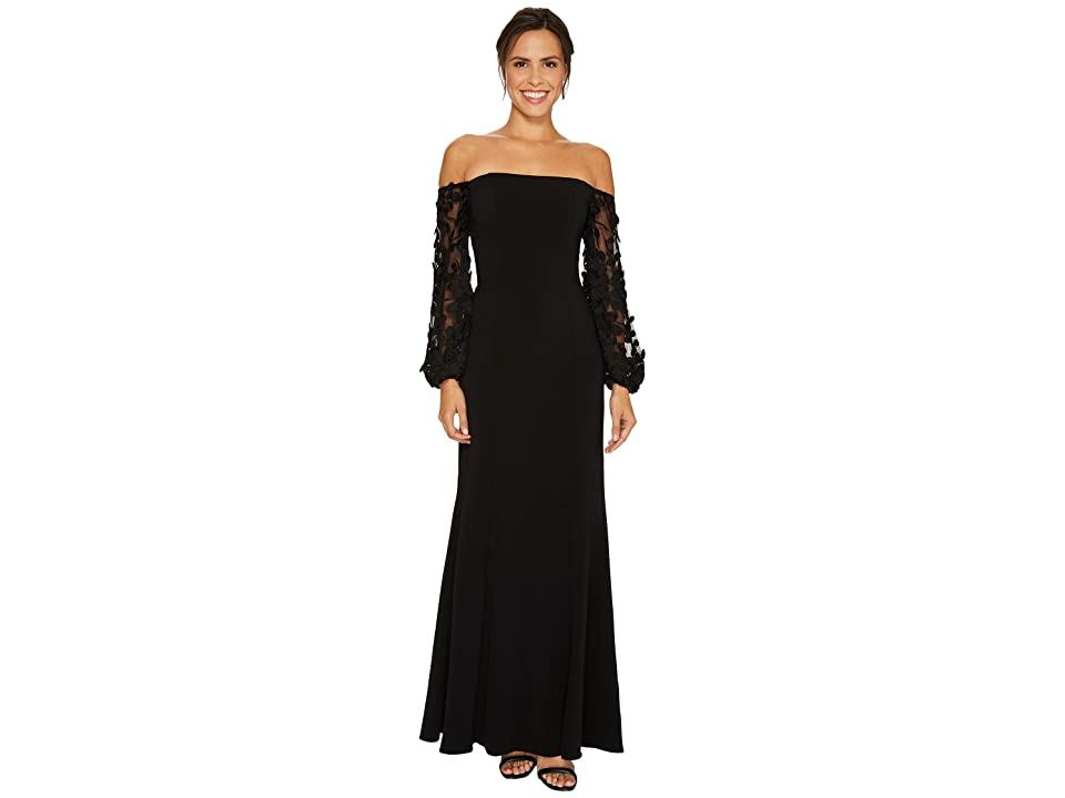 Laundry by Shelli Segal Off the Shoulder Gown with Applique Sleeve (Black) Women