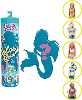 Barbie Color Reveal poupée avec 7 éléments mystère, thème Sirènes, 4 sachets surprise, modèle aléatoire, jouet pour enfant...