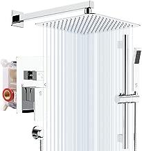 SR SUN RISE 12 Inch Dual-Function Shower Trim Kit with Adjustable Angle Slide bar, Brass Pressure Balancing Shower Faucet Valve,12 Inch Rain Shower Head,Brass Handheld Shower System, Polished Chrome