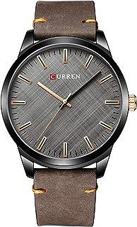 Andoer Men's Quartz Watch Leather Strap Fashion Business Wristwatch 3ATM Dress Watches