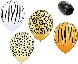 "12 Pack 11"" Safari Print Latex Balloons Zebra Cheetah Leopard Tiger with Matching Ribbons"