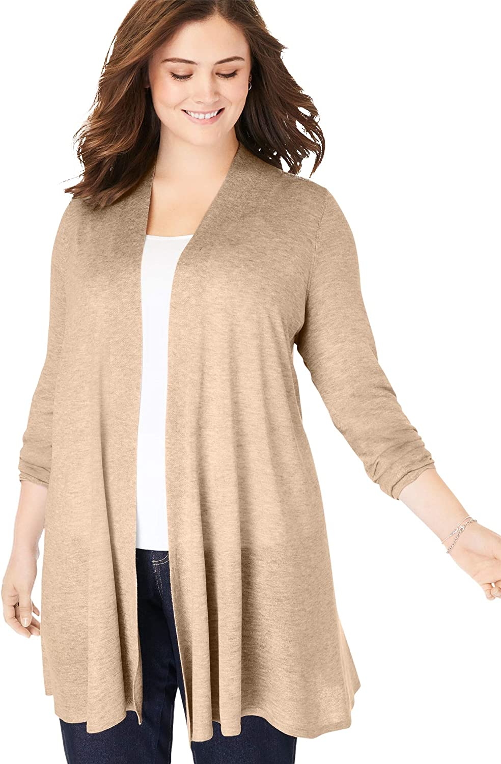 Woman Within Women's Plus Size Lightweight Open Front Cardigan Sweater
