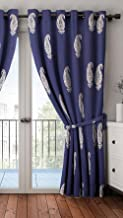 Home Sizzler Cotton Hand Block Print Door Curtain (7 feet, Blue Silver)
