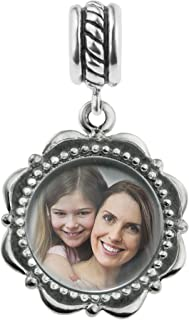 Sterling Silver Custom Personalized Dangle Photo Flower Frame Bead F/European Charm Bracelet Gift f/Family Friend Wife Daughter
